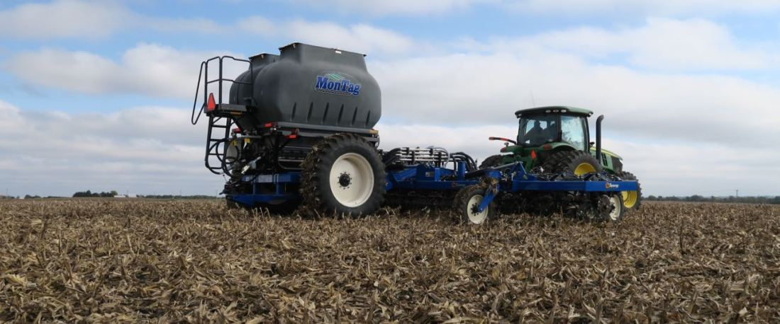 16-Row 9-Ton Montag GEN ll behind a high-speed Ag Synergy bar