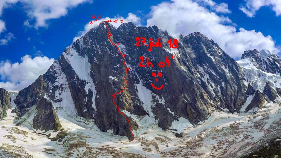 speed record, alpinismo, dani arnold, grandes jorasses, sperone walker, monte bianco