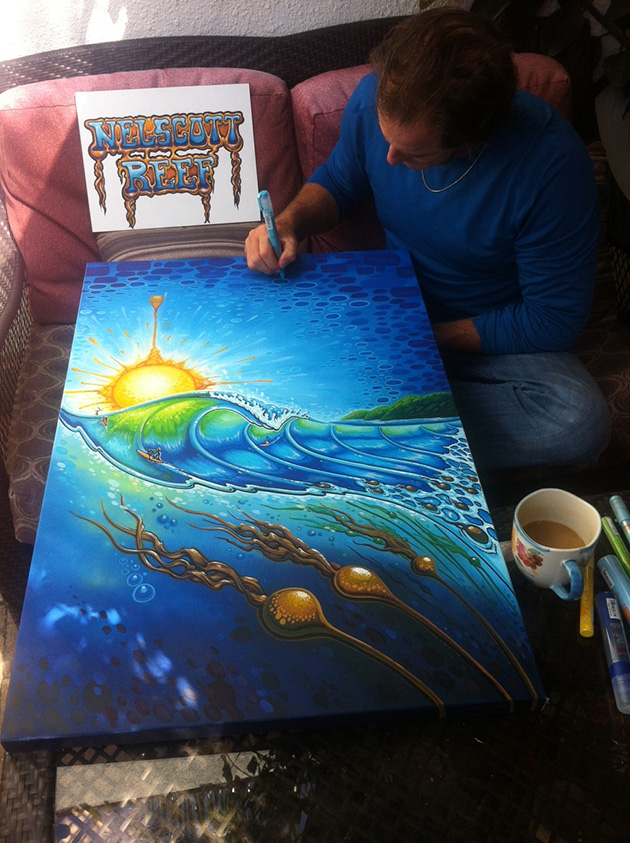 Drew Brophy finishing painting Nelscott Reef Artwork June 1 2014