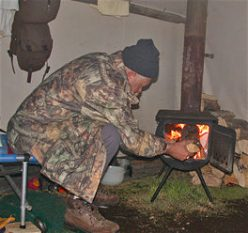 wood stove in wall tent