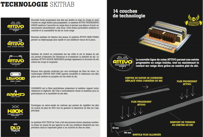 Construction 14 couches des skis Trab