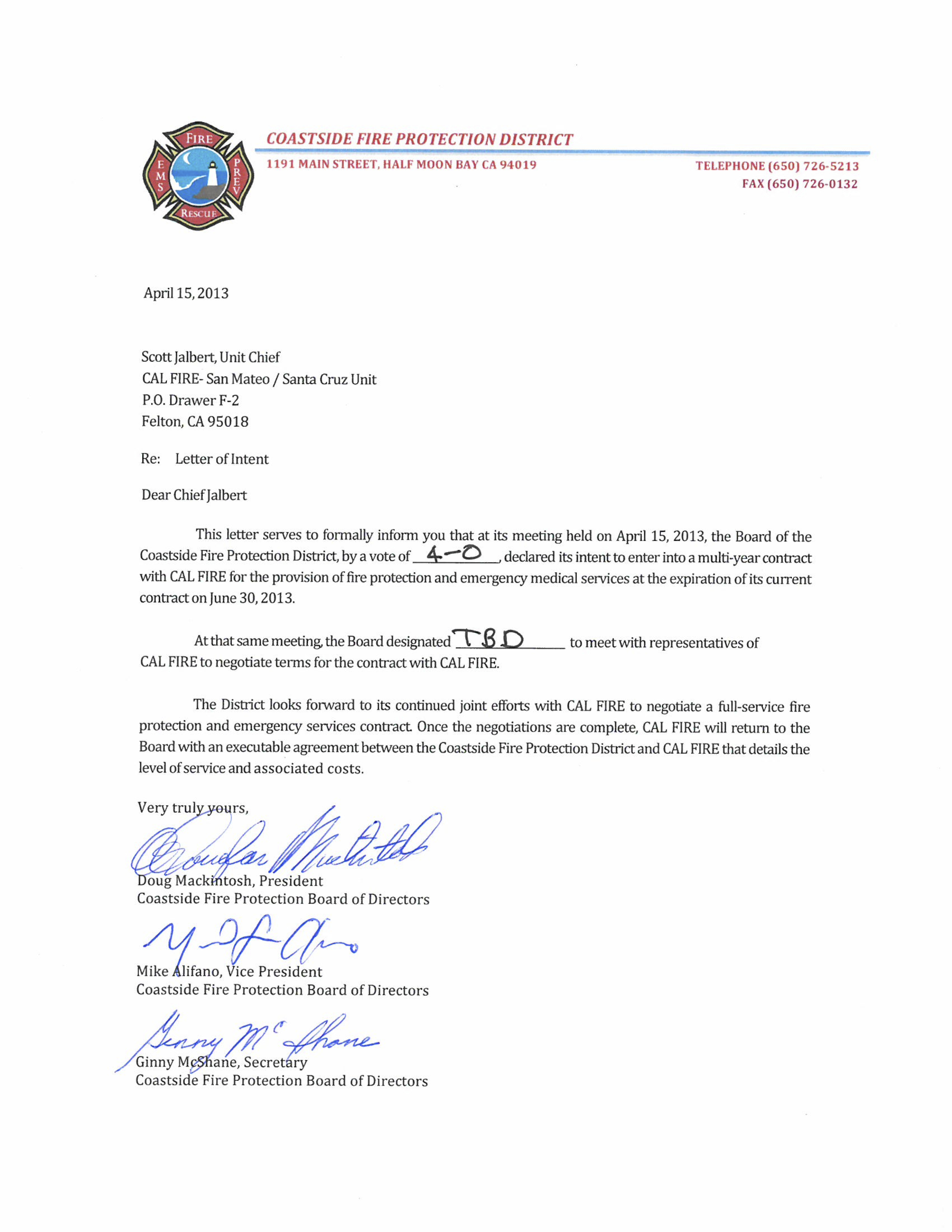 Official Letter Of Intent