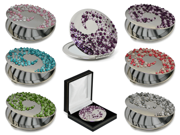 Compact mirrors with Swarovski crystals
