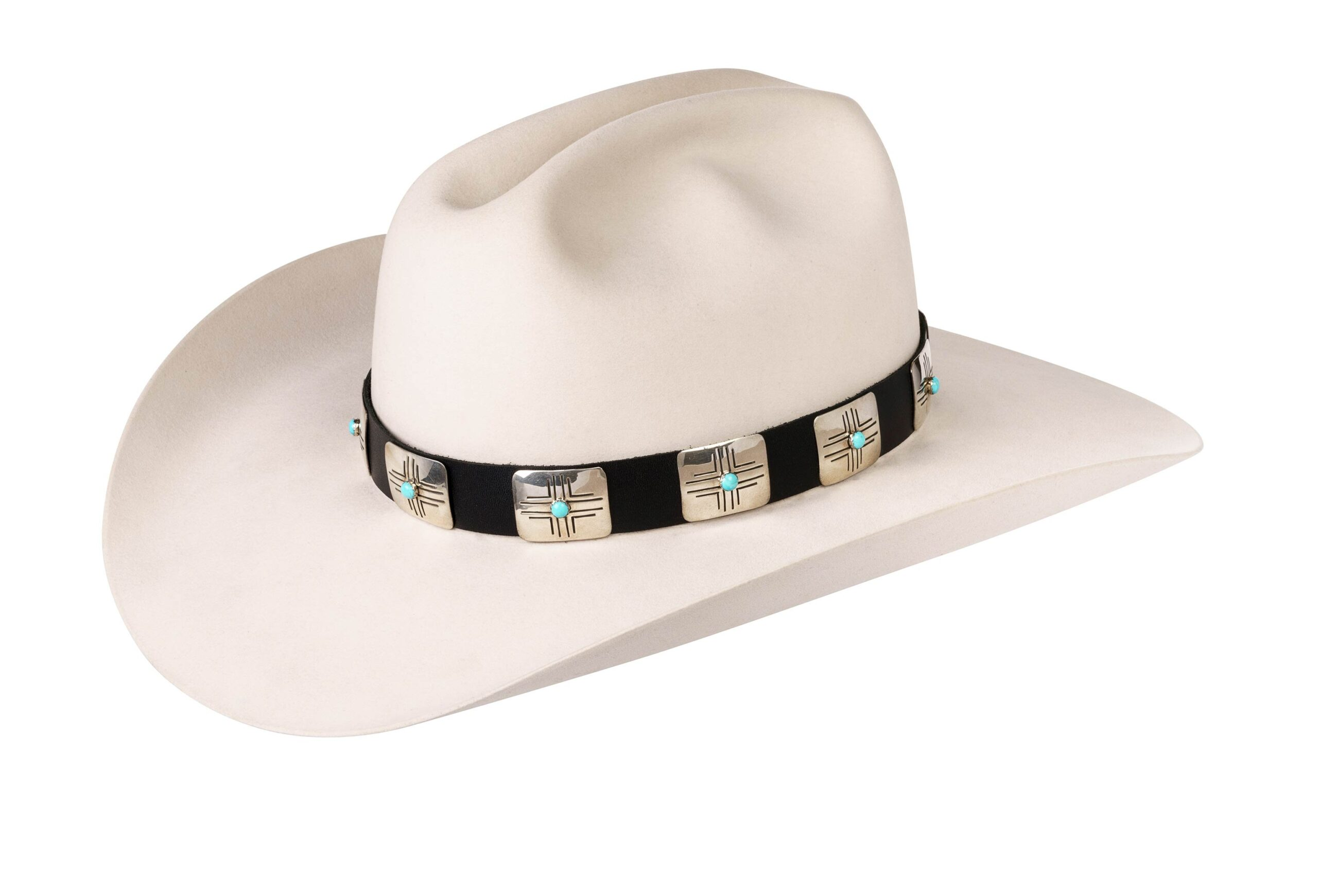 Elroy Large Square Engraved Zia with Turquoise Hat Band