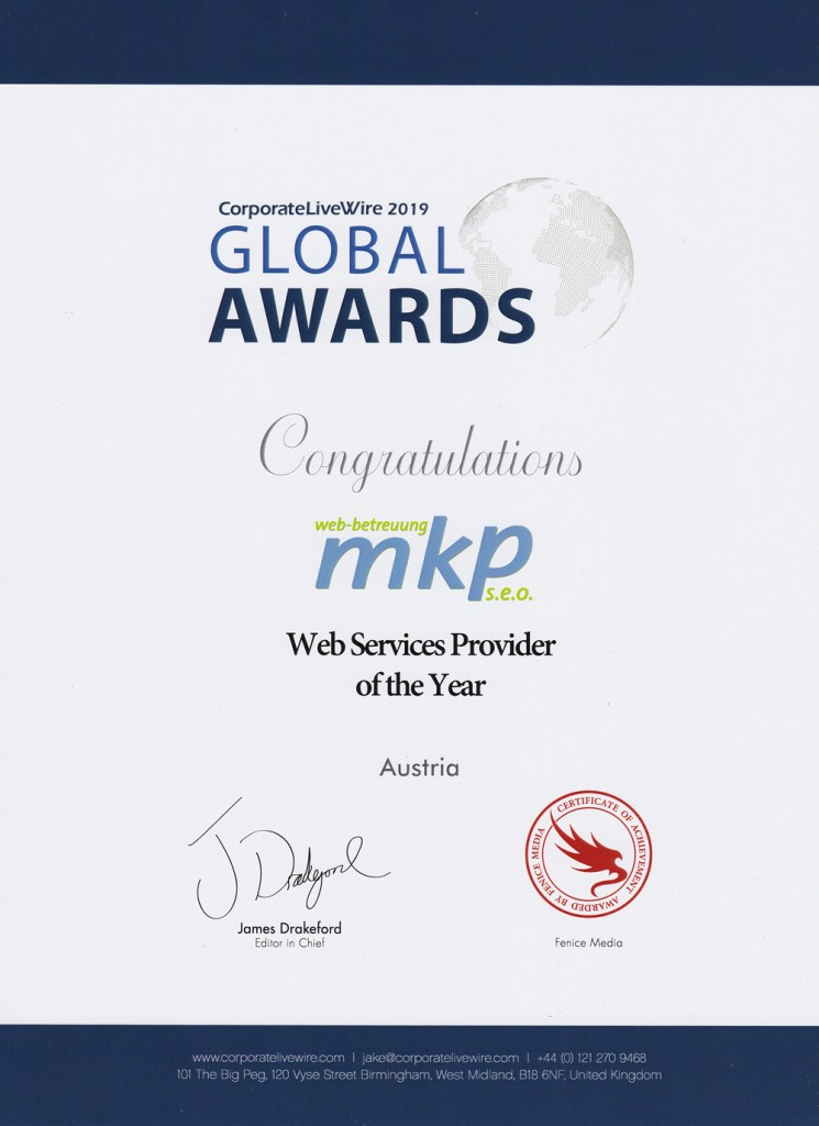 MKP Webbetreuung - Global Award 2019