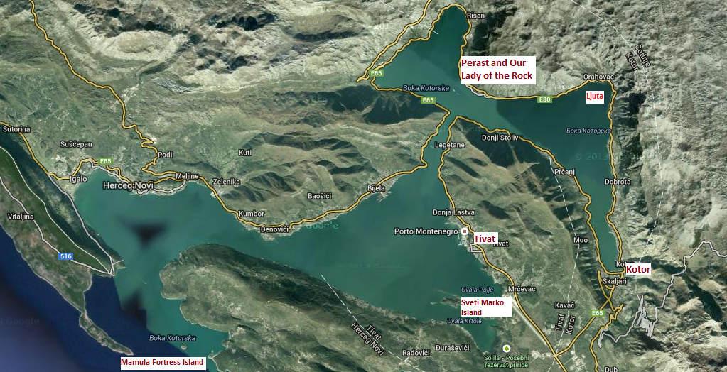 Map of Boka Kotorska (Kotor Bay) boat trip