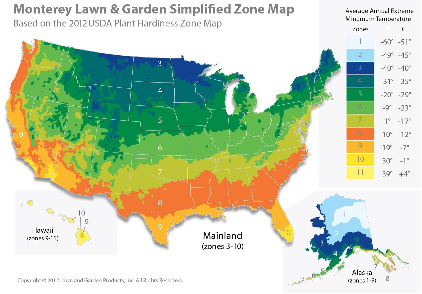Zone Map , Monterey Lawn \u0026 Garden