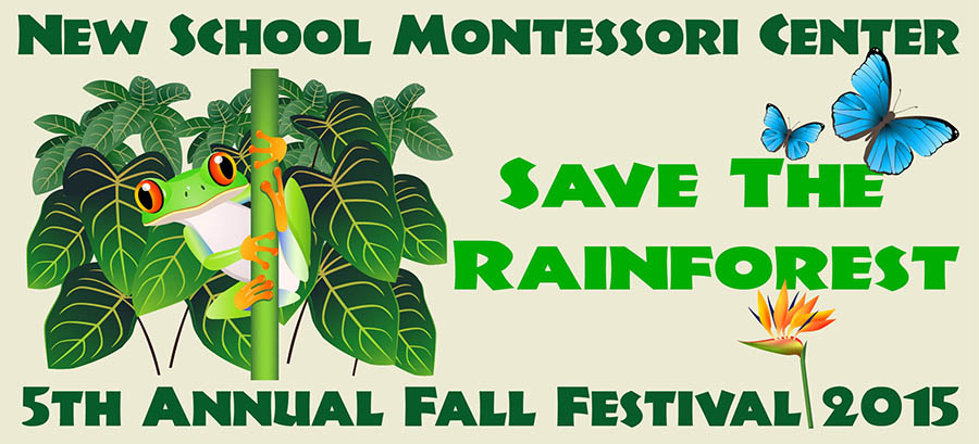 """New School 2015 Fall Festival Logo shows a frog on branch wth leaves behind and """"Save the Rainforest"""" with two blue butterflies and a bird of paradise flower"""
