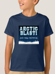 fall festival arctic blast teeshirt mockup boy standing with navy teeshirt and fall festival logo