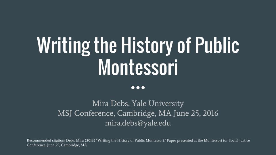 Writing the History of Public Montessori