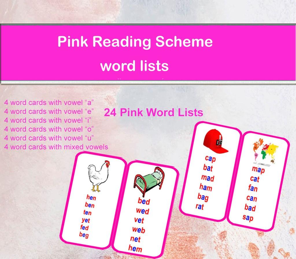 Pink Reading Scheme Word Lists