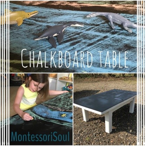 Upcycle chalk board table for use with small world
