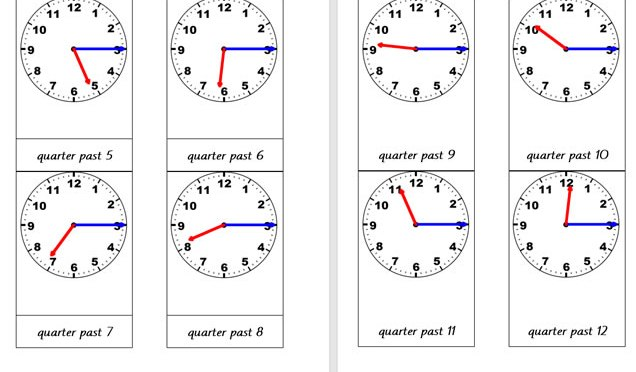 Analogue Clocks (Quarter past)