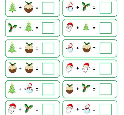 Christmas Algebra Maths with 2 digit numbers