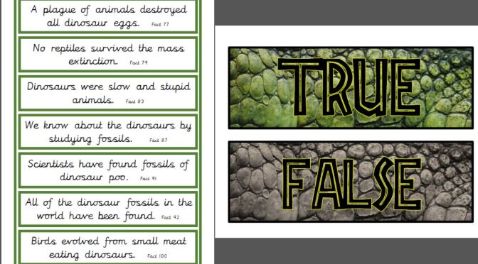 Dinosaur True or False cards