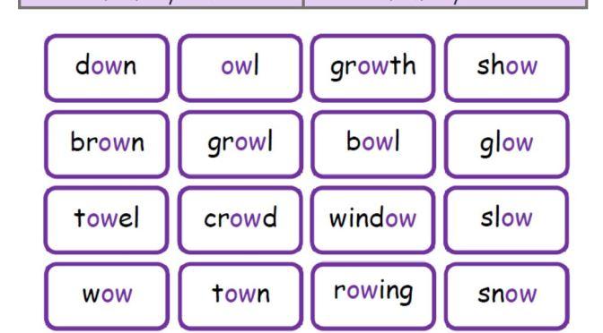 ow grapheme word sort