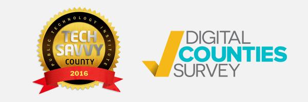 2016 tech savvy county award and digital counties survey award logo