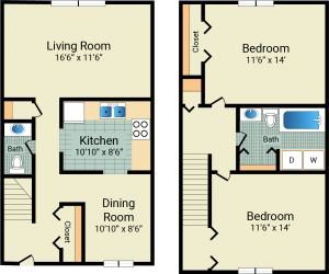 2 Bed / 1½ Bath / 1,176 sq ft / 675 w/patio & garage