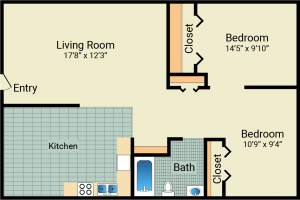 2 Bed / 1 Bath / 648 sq ft / Rent: $550