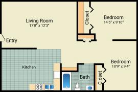 2 bed, 1 bath, 648 sqft