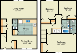 3 Bed / 1 Full & 2 Half Bath / 1,466 sq ft / Availability: Not Available / 750 w/patio & garage