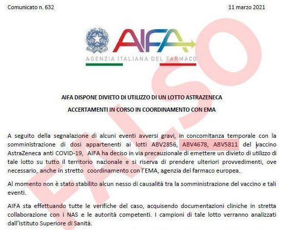 falso comunicato AIFA su vaccino Astra Zeneca