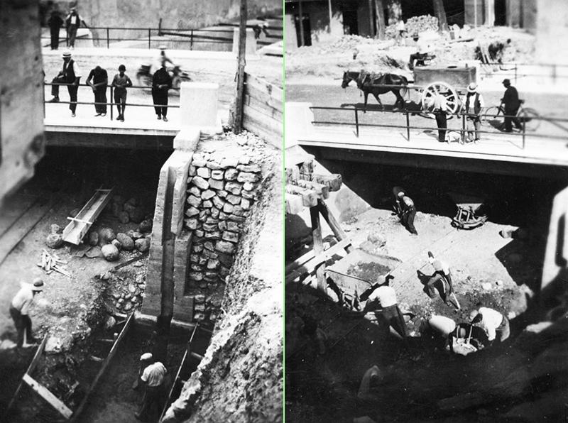 Lavori di ricostruzione nei pressi del ponte dell'Olmo.