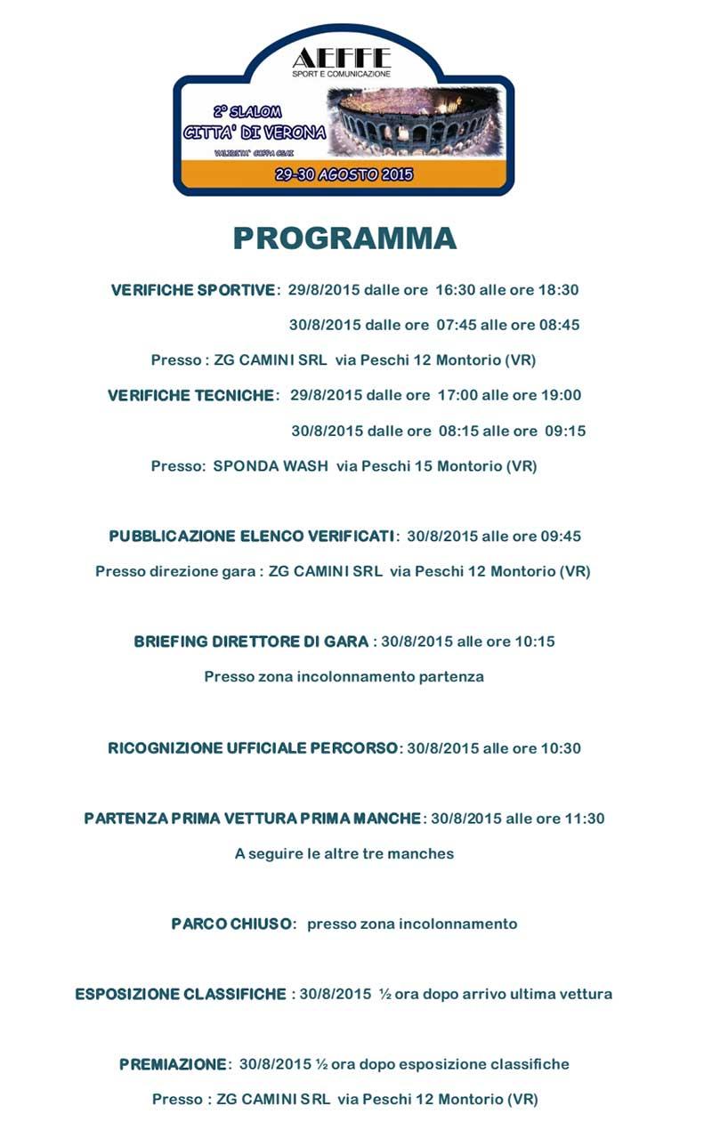 slalom citta di verona 2 anno 2015 programma