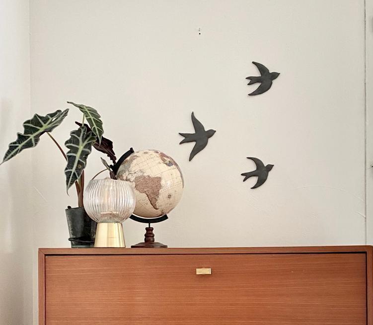 Décoration murale hirondelles design noir DIY
