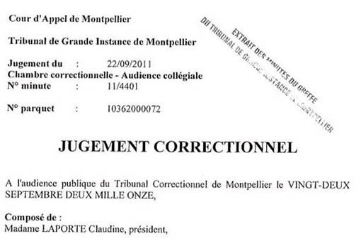 Extrait du jugement du tribunal de Montpellier pour refus de prélèvement ADN