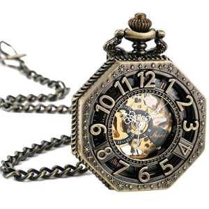 ManChDa Montre à gousset Octagon Mécanique Bronze Hommes pendentif Ancienne Gentleman avec chaîne Cadeau