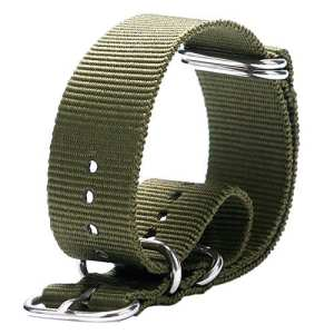 yisuya 20mm G10NATO Militaire Bracelet en nylon Sangles avec boucle en acier inoxydable broches Clap, 2.0cm Toile Durable watchbands en tissu vert