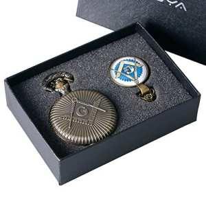 yisuya Full Hunter Bronze Rétro Franc-maçonnerie Maçonnique montre de poche collier pendentif avec chaîne pour homme Coffret cadeau garçons