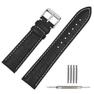 TStrap 22mm Bande / Chaîne / Bracelet de Montre en Cuir Véritable Grain Crocodile Noir Piqué