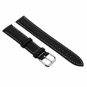 Jerollin 18mm Bande Bracelet Montre de Cuir PU Pour Remplacement Mixte Noir