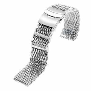 Yisuya Bracelet solide en acier inoxydable 316L H-link Shark Bracelet de montre en maille filet Band 24mm de largeur Argenté