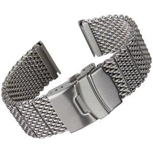Bracelet de montre Geckota acier inoxydable Maille milanaise Satiné 20 mm