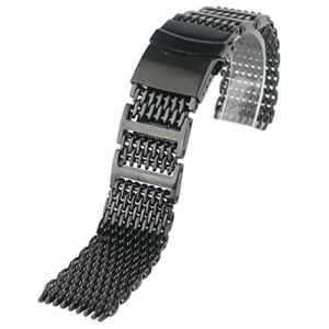 Yisuya Bracelet solide en acier inoxydable 316L H-link Shark Bracelet de montre en maille filet Band 20 mm de largeur Noir