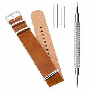CIVO PU Cuir Bracelet de Montre Mixte NATO Zulu Militaire G10 bande Watch Strap 18mm 20mm 22mm avec TOP Barre d'outils Spring et Bars Spring Bonus (Brown, 18mm)