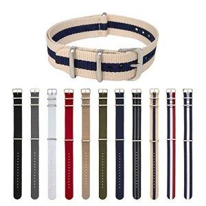 Archer Watch Straps Courroies De La NATO De Nylon, Choix De Couleur Et Taille (Beige/Bleu Foncé, 18mm)