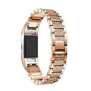 Fitbit Charge 2 Bracelet de Montre, iBazal Fitbit Charge 2 Bande et Connecteur 18mm Acier Inoxydable Band Bracelet de Remplacement Watch Band avec Diamond Strass pour Fitbit Charge 2 [Style luxe] – Or rose Diamant