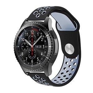 Gear S3 Bracelet, iBazal Gear S3 Frontier / Classic Watch Band 22mm Bracelet de Remplacement de Silicone Souple Sport Band pour Samsung Gear S3 Frontier / Classic [Série Sport] – Noir / Gris