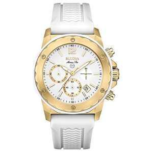 Bulova – 98M117 – Montre Fille – Quartz – Chronographe – Aigulles luminescentes/Chronomètre – Bracelet Caoutchouc Blanc