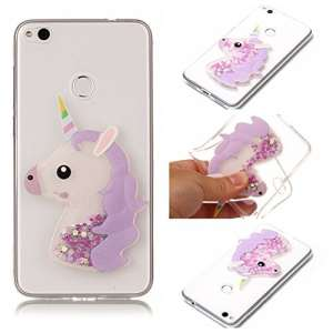 Coque Huawei P8 Lite 2017 Paillette, E-Unicorn Housse Étui Coque Huawei P8 Lite 2017 Transparente avec Motif 3D Licorne Violet Brillante Bling Liquide Glitter Silicone TPU Souple Gel Bumper Ultra Fine Slim Case Cover Ultra Resistante Antichoc Incassable