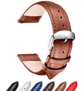 Ribération Rapide Bracelet Cuir Véritable Bandes de Montres, SONGDU Remplacement bracelet montre bracelet bracelet Band avec Boucle En Acier Inoxydable (18mm, 20mm, 22mm) (18mm, Marron)