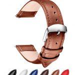 Ribération Rapide Bracelet Cuir Véritable Bandes de Montres, SONGDU Remplacement bracelet montre bracelet bracelet Band avec Boucle En Acier Inoxydable (18mm, 20mm, 22mm) (22mm, Marron)