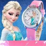 Montre quartz fille Frozen Princesse des neiges Elsa et Anna bracelet Cuir rose Mode Fille étudiante (cadran affichante elsa)