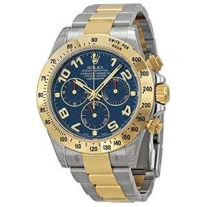 Rolex Daytona Bleu chronographe en acier et or jaune montre pour homme 116523blao