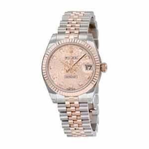 Rolex Femme 31mm Bracelet & Boitier Acier Inoxydable Bicolore Automatique Cadran Rose Montre m178271-0012