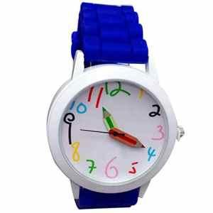 Mode numérique intelligent pour enfants poignet montres à quartz unisexe garçon fille crayon Pointeur étudiants mignon montres (Bleu foncé)